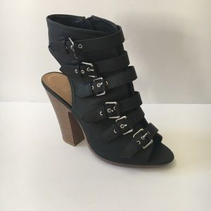 Torrid Black Caged Silver Buckles Heels Sandals